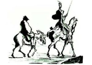 black & white image of Don Quixote on a horse with his sidekick behind