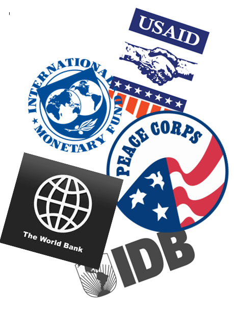 logos of the world bank, peace corps, imf, and several others